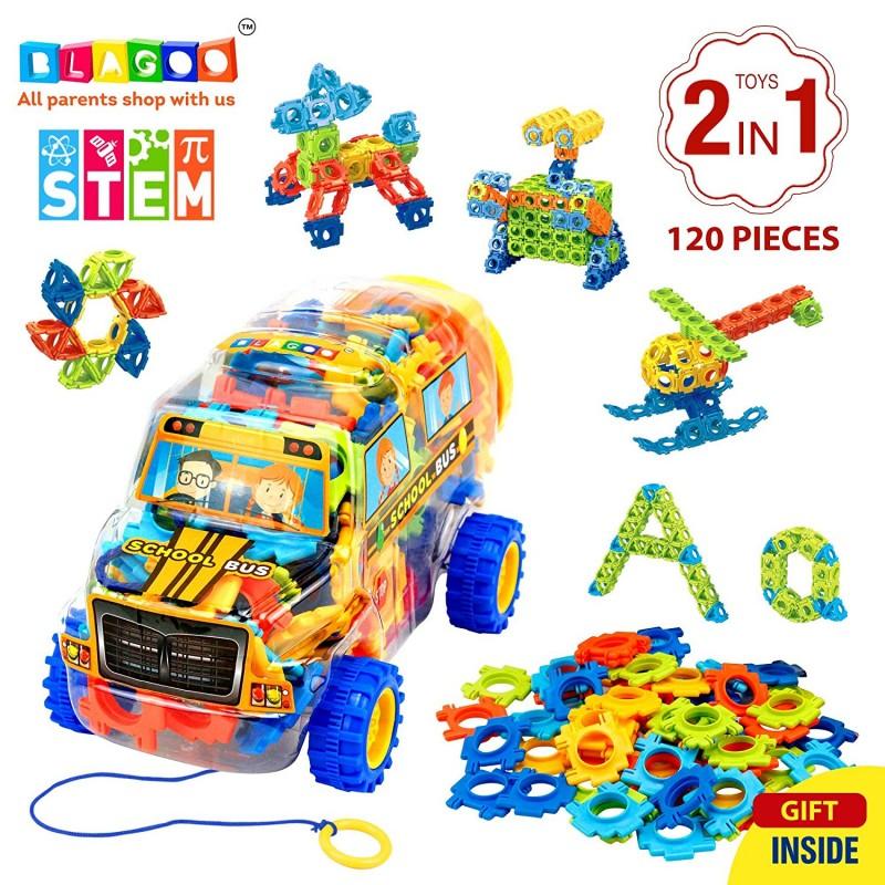 BLAGOO Building Blocks 120 pcs Plastic Construction Set in Creative School  Bus Case