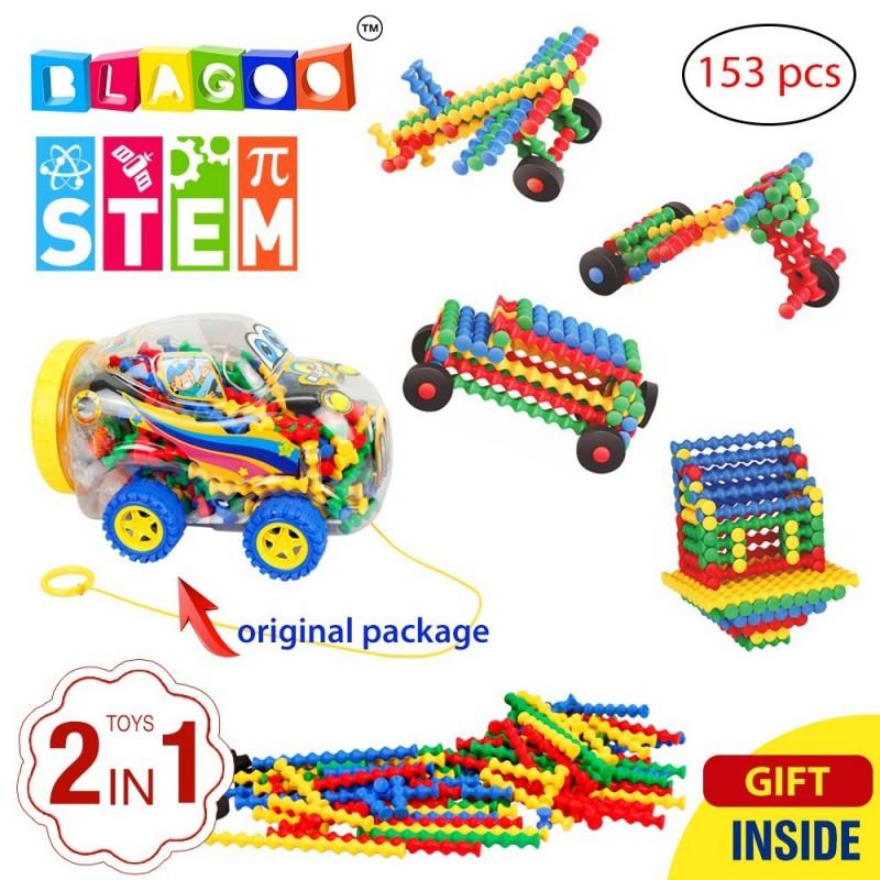 Building Blocks 153 pcs Plastic Sticks Learning Set in Creative Car Case